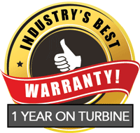 Industry's Best Warranty! 1 Year on Turbine