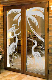 Etched glass-Large Glass Design
